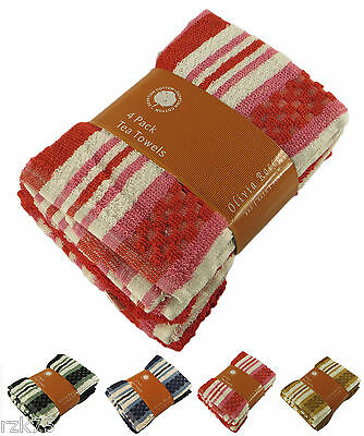 4 x Stripe Terry Tea Towels, Soft 100% Egyptian Cotton Catering Kitchen Towels