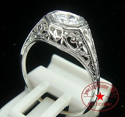 Silver Plated White Gold Gem Aaa Cubic Zirconia Antique Art Deco Vintage Ring
