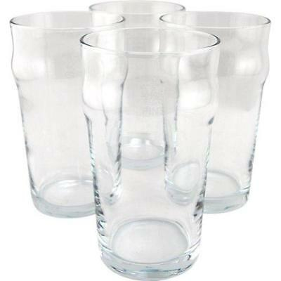 British Style Imperial Pint Glass with Etched Seal - Set of 4 - Gift Boxed New