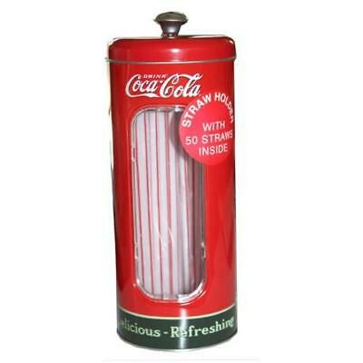 Coca-cola Tin Collectible Drinking Straw Holder Dispenser With 50 Straws New