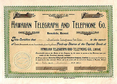 RAREST HAWAII TELECOM STOCK on EARTH! 99.96% of COMPANY!! 1910 TERRITORIAL GOLD!