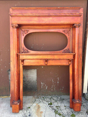 Large Antique Fireplace Mantel w Columns & Spot for an Oval Mirror - Full Mantle