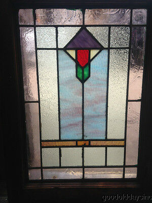 "Antique Chicago Stain Stained Leaded Glass Window 24"" x 18"""