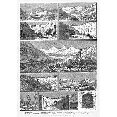 TUNISIA Dwellings of the Troglodytes - Antique Print 1882