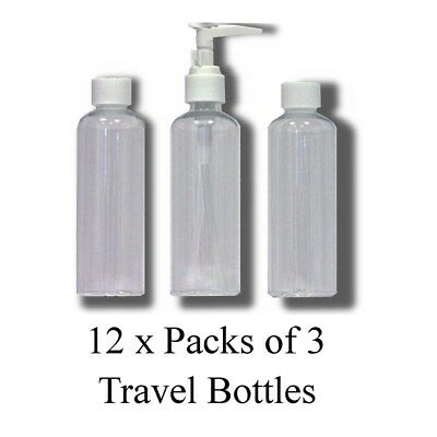 Job Lot 12 x Sets 3-Piece Liquid Travel Clear Bottles Airline Approved S6QZ#