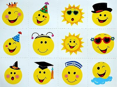 144 Pack of Smiley Face Transfer Tattoos - Party Loot Bag Fillers Boys or Girls