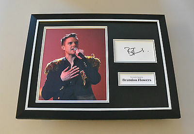 Brandon Flowers Signed Framed 16x12 Photo Autograph Display Killers Memorabilia