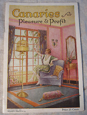 Vintage 1925 CANARY Book CANARIES FOR PLEASURE Bird Raising MAGNESIA Catalog VGC