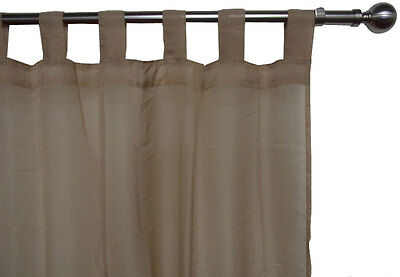 Tab Top CURTAINS  MOCHA Latte VOILE Sheer lace alternative 2x120x213cm PAIR  New