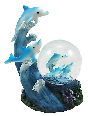 Aqua Marine Dolphin Family Rising With Waves Water Snow Globe Figurine Sculpture