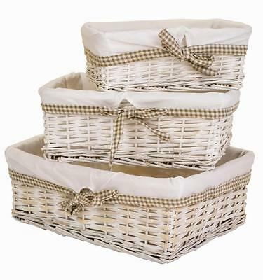 e2e White Wash Wicker Shallow Storage Basket w/ Taupe Gingham Liner in 3 Sizes