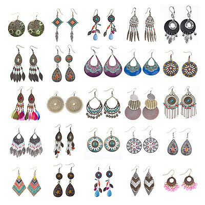 Vintage Bohemian Ethnic Style Design Multicolor Beads Tassel Drop Women Earrings