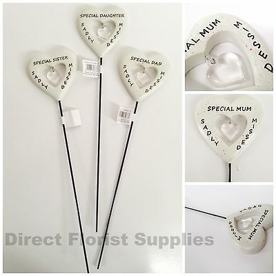 Diamante Heart Memorial Stick, Grave Side Remembrance Tribute Spike -Asst. Names