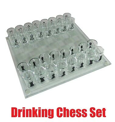 Drinking 32 Shot Glass Chess Set Board Game Party Fun Game Stag Hen Gift Dinner