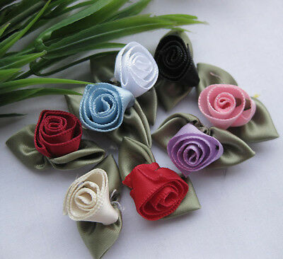 Fancy Satin Ribbon Rose Flower DIY craft/Wedding/Appliques/doll Mix E61 U pick