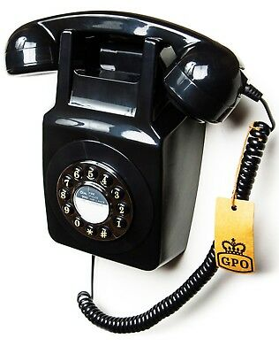 GPO 746 Push Button Wall Phone - Wall Mountable - Black  746WP