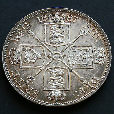 1887 Queen Victoria Jubilee Head Silver Double Florin - Roman One - G/EF  #2