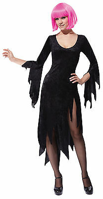 Ladies Black Siren Witch Fancy Dress Costume Womens Halloween Outfit UK 10-14