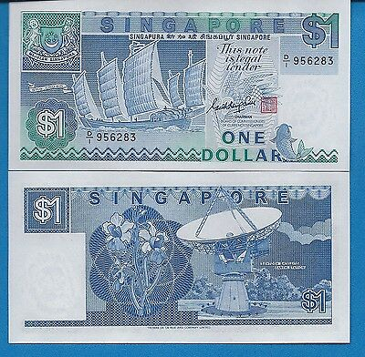 Singapore P-18 One Dollar Year ND 1987 Uncirculated FREE SHIPPING