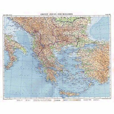 GREECE, BULGARIA and The AEGEAN - Vintage Map 1956 by Bartholomew
