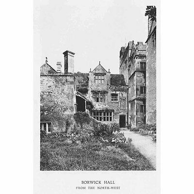 BORWICK HALL View from the NW, Lancashire - Vintage Photographic Print 1929