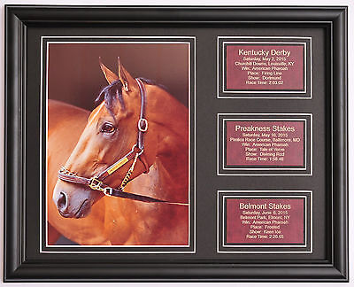 American Pharoah Pharaoh Triple Crown photo w/ saddle leather statistic plaques