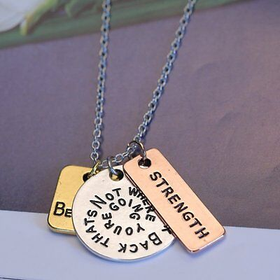"""""""Believe Strength"""" Pendant Inspirational Necklace Jewelry Three Piece Chain Gift"""