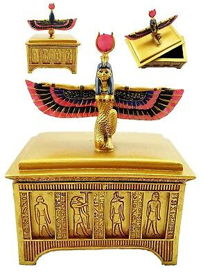 Egyptian Isis Open Wings Patroness Of Magic Nature Jewelry Trinket Box Figurine