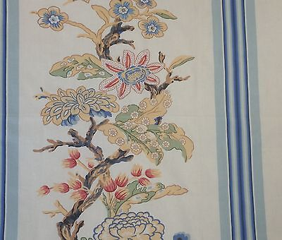 CLARENCE HOUSE Rayure Coromandel Asian Stripe Floral Cotton Italy Remnant New