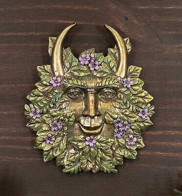 Bronzed Spring Blooms & Blossoms Horned Greenman Pan Wall Decor Plaque Sculpture