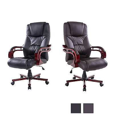 High Back Ergonomic Executive Task Desk Office Chair Swivel Wood PU Leather