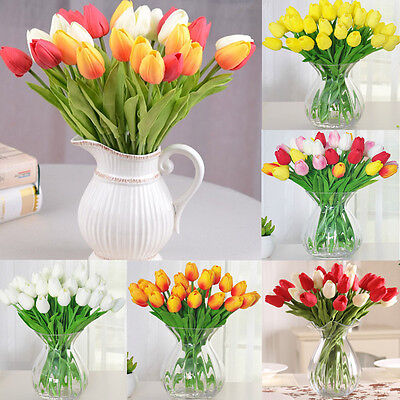 1 6 12 Tulip Artificial Flower Real Touch Bridal Wedding Bouquet Home Decor New