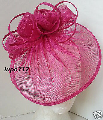 Hot Pink Hat Sinamay Fascinator Wedding Ascot Race Hen Party Ladies Day
