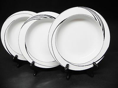 BLOCK  CHINA SPAL WHITE PEARL set of 3 RIM SOUP BOWLS