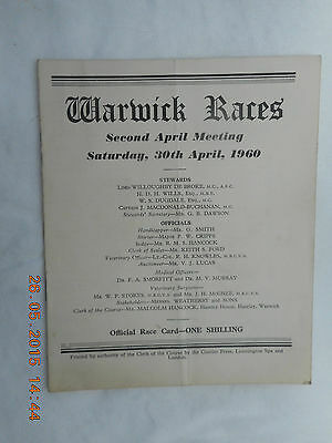 Warwick 2Nd April Meeting,  Saturday 30Th April 1960  Race Card