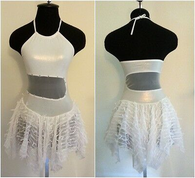 White Contemporary Lyrical Ballet Dance Dress Ice Skating Child & Adult Sizes