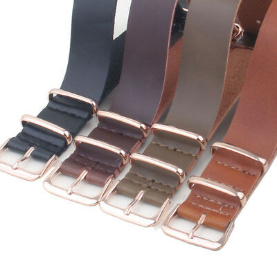Rose Gold Buckle 18mm 20mm 22mm Nato Brown PU leather Watch Strap Band