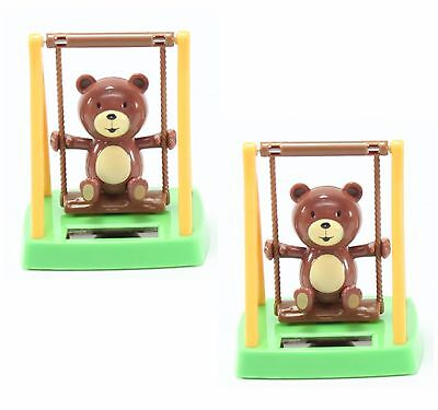 Set of 2 Adorable Swinging Bear Solar Toy Home Decor Birthday Gift US Seller