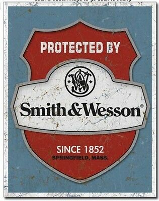 """Smith & Wesson - Protected By - Since 1852 - Metal / Tin Sign 12.5"""" x 16""""  #1682"""