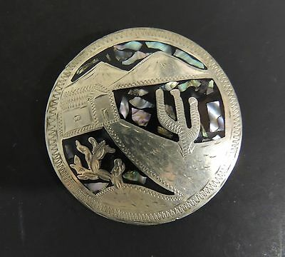 Vintage Taxco Sterling Large Pendant Cactus Mountains Abalone 925 Alpaca Mexico