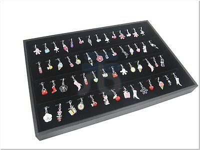 Black Velvet 56 Clip Pendant Charm Jewelry Display Case Tray Countertop Showcase