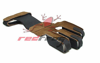 New Red Frog Archery Traditional Draw Hand Leather Glove Longbow Flat Horse  Bow