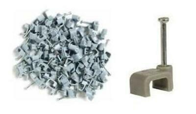 1X Pack Of 100 10MM Grey Flat Twin And Earth Clips Cable Clip