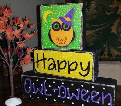 Primitive Sign Happy OWL-OWEEN Halloween Shelf Blocks OWL Whimsical Ornament