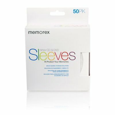 Memorex CD/DVD Sleeves Paper with Window Cut-OutandBack Flap 50-Pack New