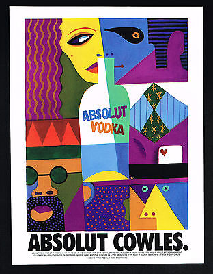 1998 Absolut Vodka Bottle David Cowles Art Vintage Print Ad