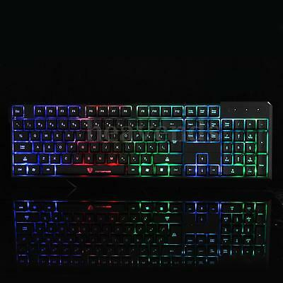 Etanche Clavier LED Lumineux Filaire USB Gamer Wired Keyboard Pr Desktop PC Jeux