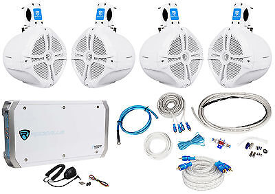 "4 Rockville RWB80W 8"" Wakeboard Marine Speakers+4 Channel Amplifier+Amp Kit"