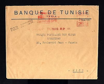 3556-TUNISIA-AIRMAIL BANK COVER TUNIS to NICE (france) 1949.WWII.TUNEZ.Brief.