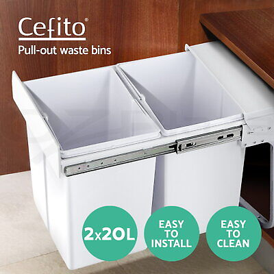 2X20L Twin Pull Out Bin Slide Kitchen Double Dual Garbage Rubbish Waste Basket